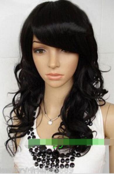 Бесплатная доставка новый cos играть мода длинные вьющиеся черный парик