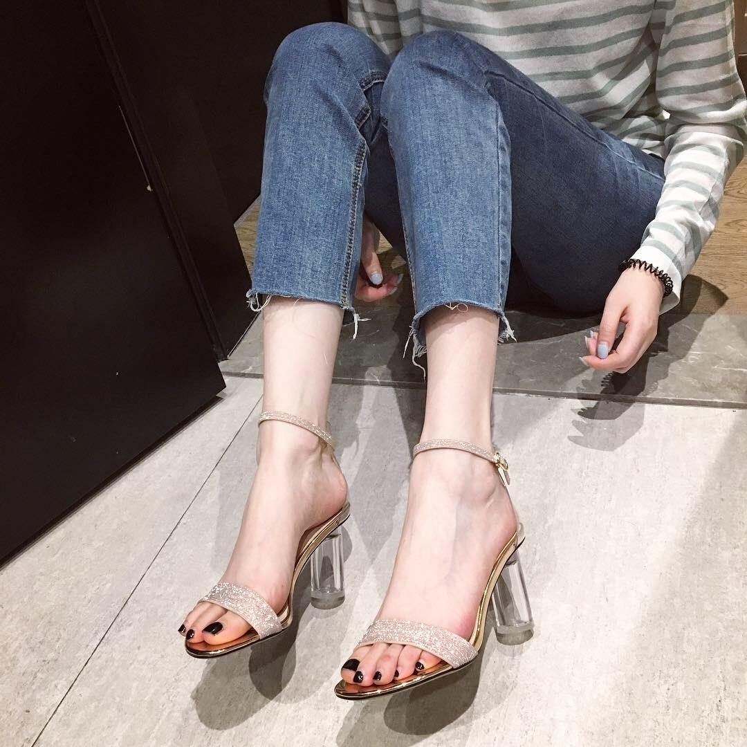 Gorgeous2019 Transparent Sexy Crystal High-heeled Shoes One Buckle Bring Toe Girl Naked Color With Sandals Woman