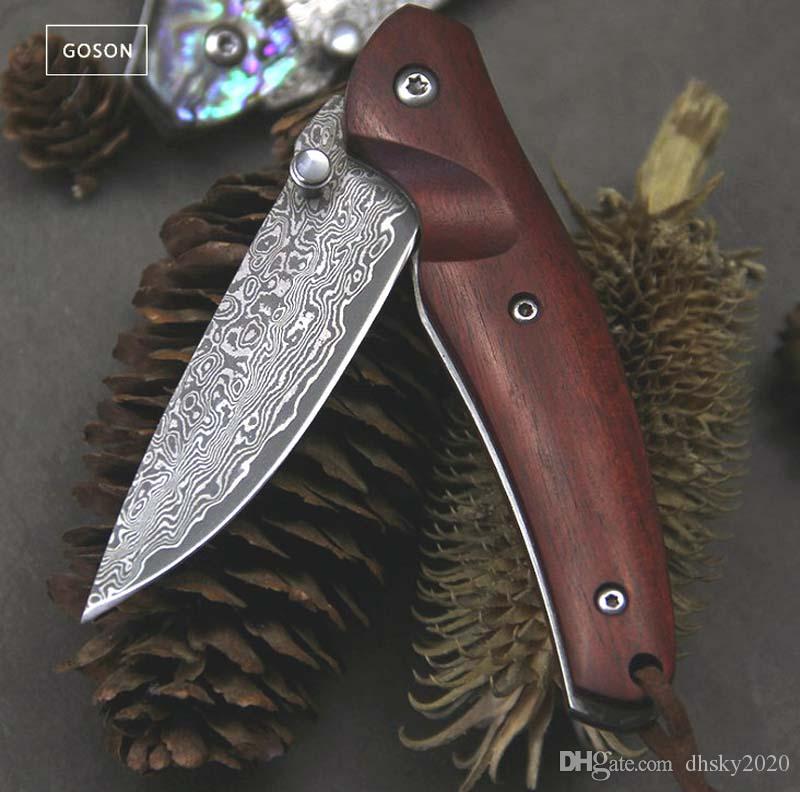 lado alemán forjado de alta dureza cuchillo plegable de Damasco caoba hoja / mango color de la cáscara bolsillo Knifes autodefensa EDC Caza automática