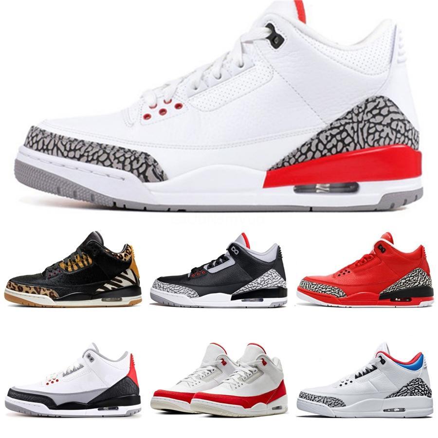 2020 Hommes Chaussures de basket-3S Ce que le 3 Loyal Bleu Gris Noir Bred cool Cat pur White Cement argent Hommes Entraîneur de sport Chaussures de sport # 751