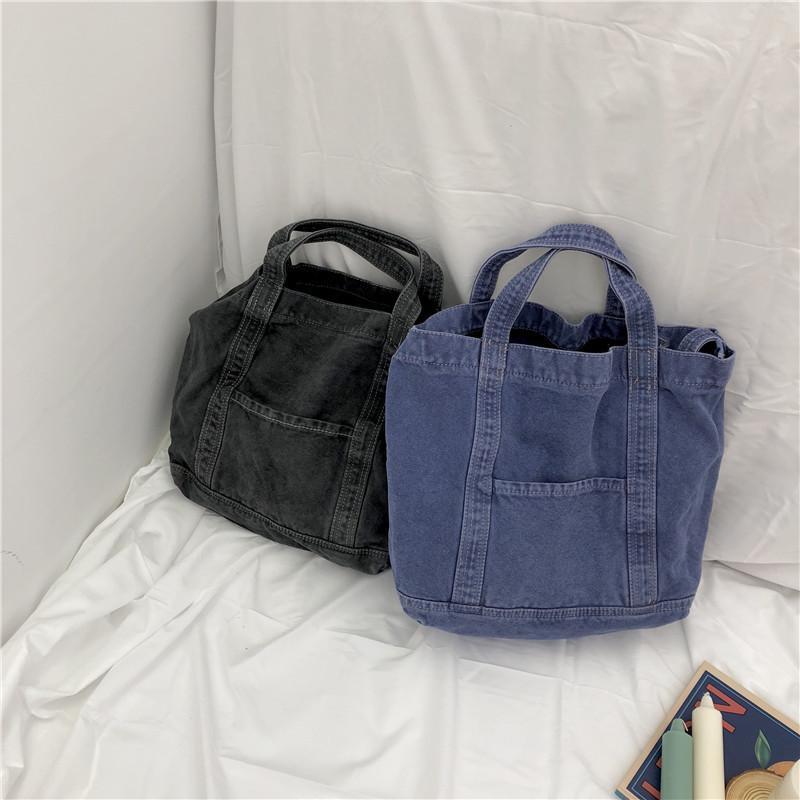 디자이너-Wild2019 문학 년 19 워시 단일 어깨 스팬 핸드백 순수한면 조커 윌 용량 캔버스 가방 여성