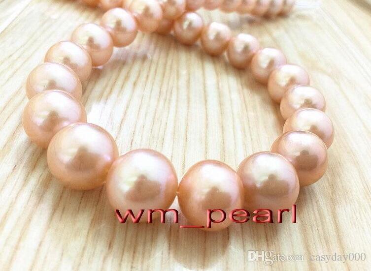 NATURAL 15-14MM  SOUTH SEA GENUINE pink  PEARL BRACELET 14K GOLD CLASP