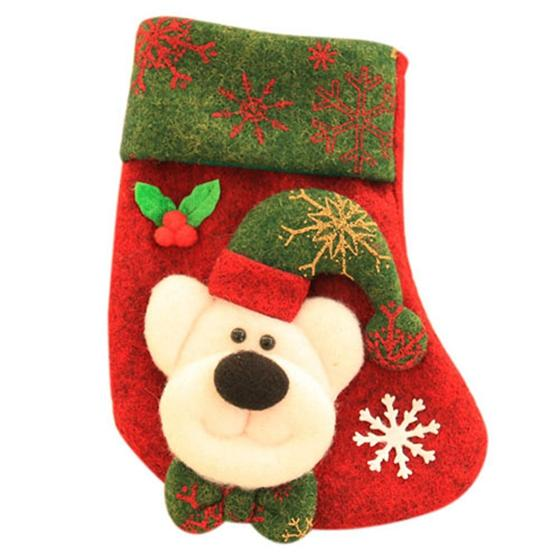 KSFSChristmas socks Christmas socks tree pendant Christmas decorations red Bear