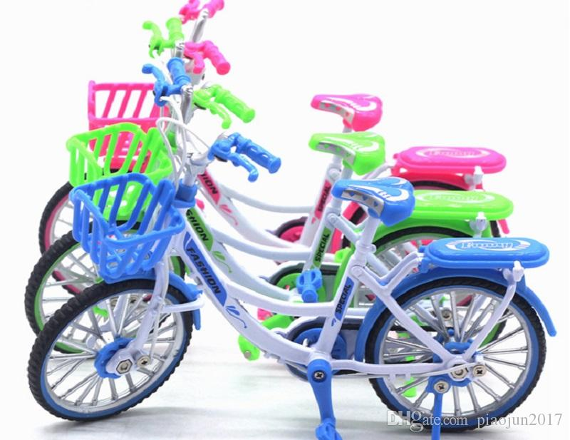 Alloy Mini Bicycle Toy - Finger Bike for Collections (Ladies' Bike Green/Pink/Blue))
