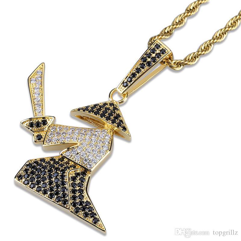 18 карат позолоченный личность самурай кулон ожерелье ледяной CZ мужские хип-хоп ювелирные изделия подарок