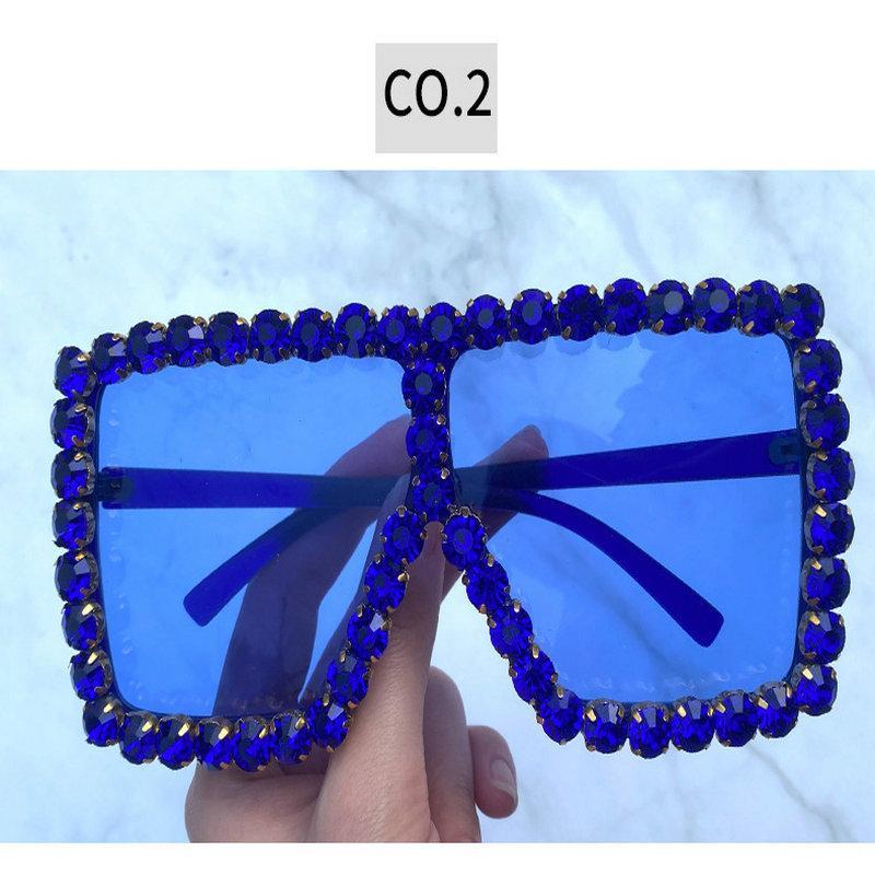 Praça de cristal óculos de sol de luxo Praça de cristal óculos de sol Mulheres 2020 Marca Designer de Moda Oversized Rhinestone óculos de sol Senhora UbfBN
