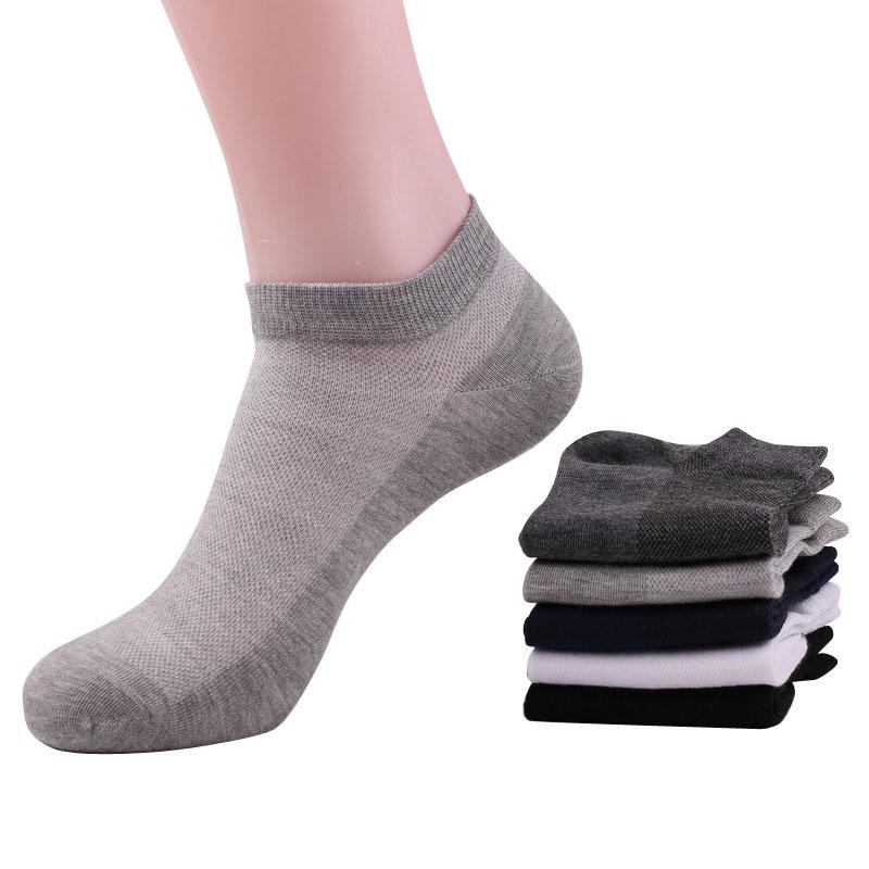 algodão verão dos homens Atacado-malha respirável penteado meias curtas masculino tornozelo branco meias 5pairs forma rasa barco boca meias / lot fz0213