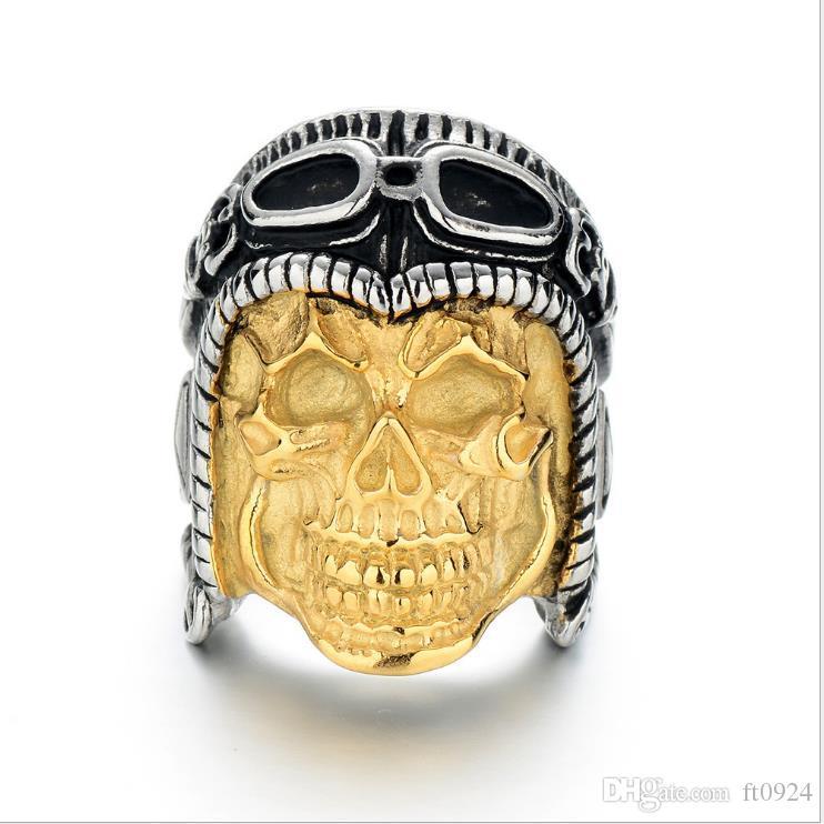 Новый хип-хоп мужской личности европейские и американские модные тренды аксессуары Skull Pilot Ring Золотое кольцо Ювелирные изделия