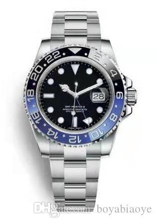 Tipo de data de dois cor assistir relógio mecânico automático de aço inoxidável dos homens costura 40mm strap frete grátis 2813 esportes de movimento