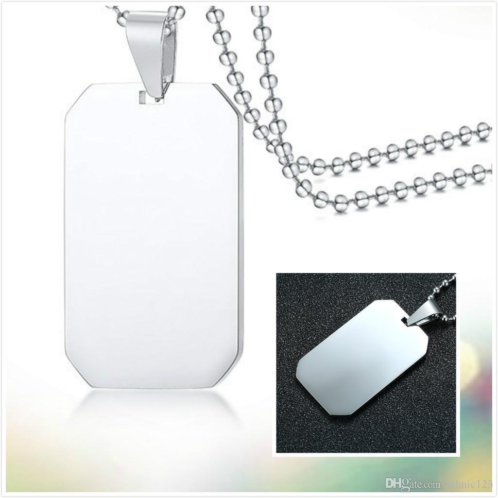 Estilo muito simples Tag quadrado do aço inoxidável presente da jóia colar de pingente de homens de cor prata por Homens J003