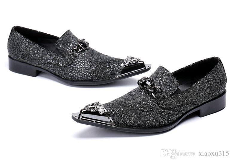 Nuevos zapatos de vestir de cuero rojo con punta puntiaguda para hombres Zapatos de cuero formales Zapatos Oxford de hombre, Slip-On Mocasines de cuero genuino para hombres TD69