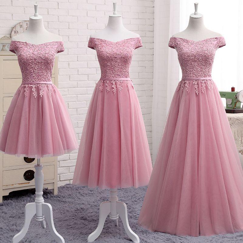 Dusty Pink Bridesmaid Dresses Floor-length Sexy Boat Neck Cap Sleeve Applique Embroidery Cheap Prom Party Dress Vestido De Noiva Y200109