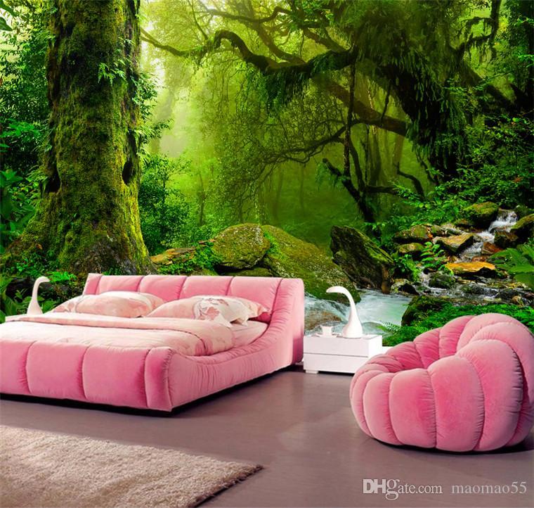 Fondo de pantalla personalizados en 3D Trópico Bosques Cascada árboles de la selva Modern Nature grande del árbol etiqueta de la pared de la sala dormitorio Mural