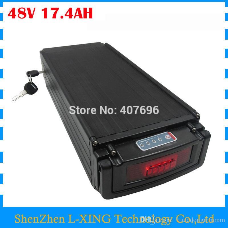 1000W 48V 17.4AH батареи задней стойки 4 17AH литий-ионный аккумулятор с хвостом света использование NCR ПФ 2900mAh клеток 30A BMS БЕСПЛАТНОЙ ДОСТАВКОЙ