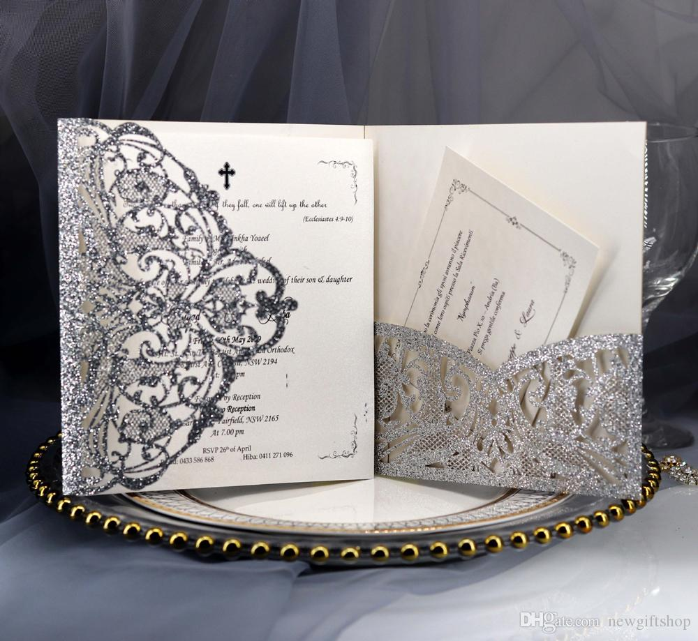 Shipped by DHL New Design Silver Glitter Laser Cut Pocket Wedding Invitation, Gold/Champagne Invitations Template for Quince Bridal Shower