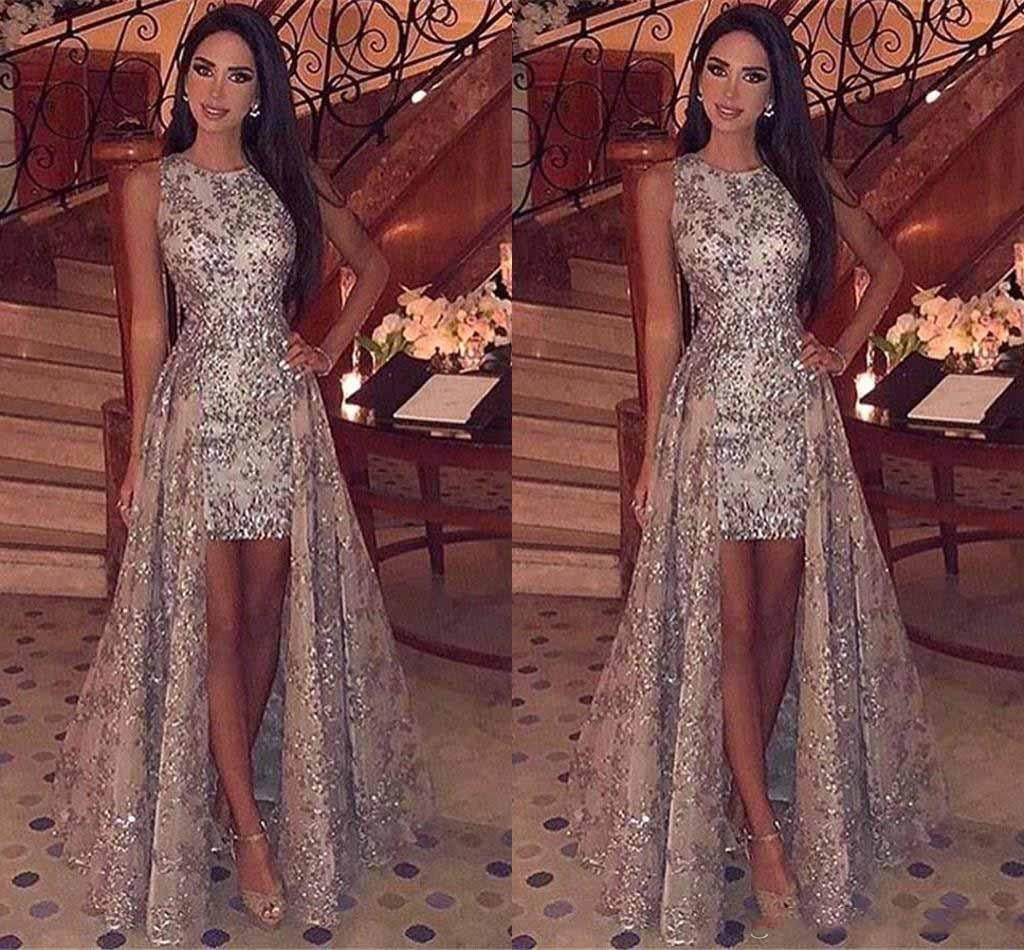 Sparkly Sequins Sheath Short Prom Dresses 2019 Jewel Neck Sleeveless Formal Party Evening Gowns With Detachable Overskirts