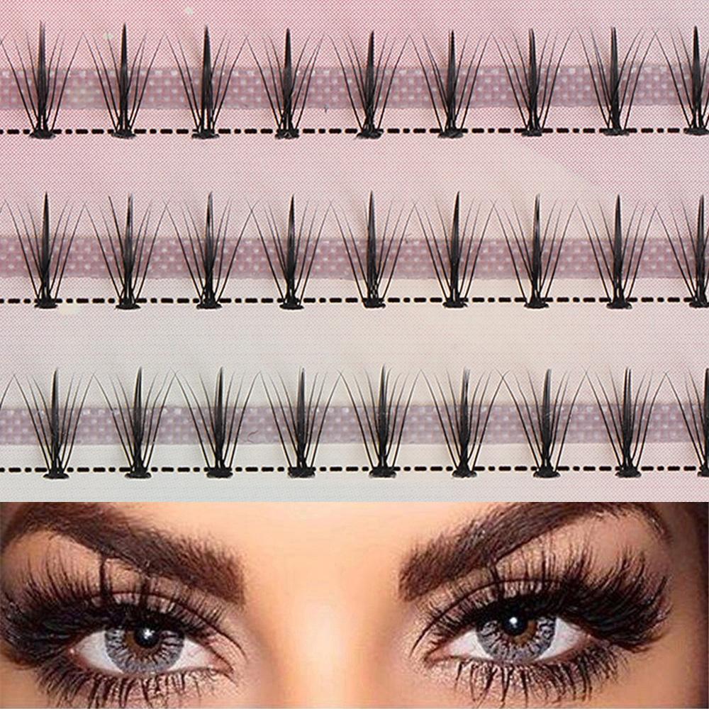 60 falsi Cluster Faux Mink capelli ciglia folte naturale lungo individuale ciglia Extension annodate / Nodo libero Eye attrezzi di trucco