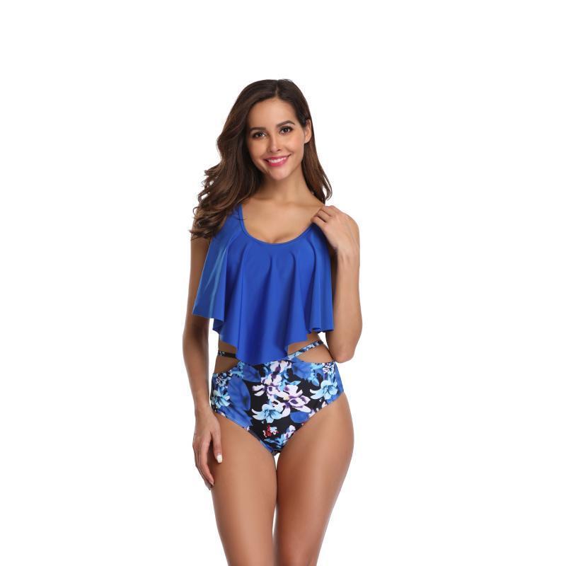 Frauen Ruffle Swimsuits aushöhlen High Waist Printed Briefs Padded Push-up-BH Backless Bikini Set Baden-Strand-Schwimmen-Wear