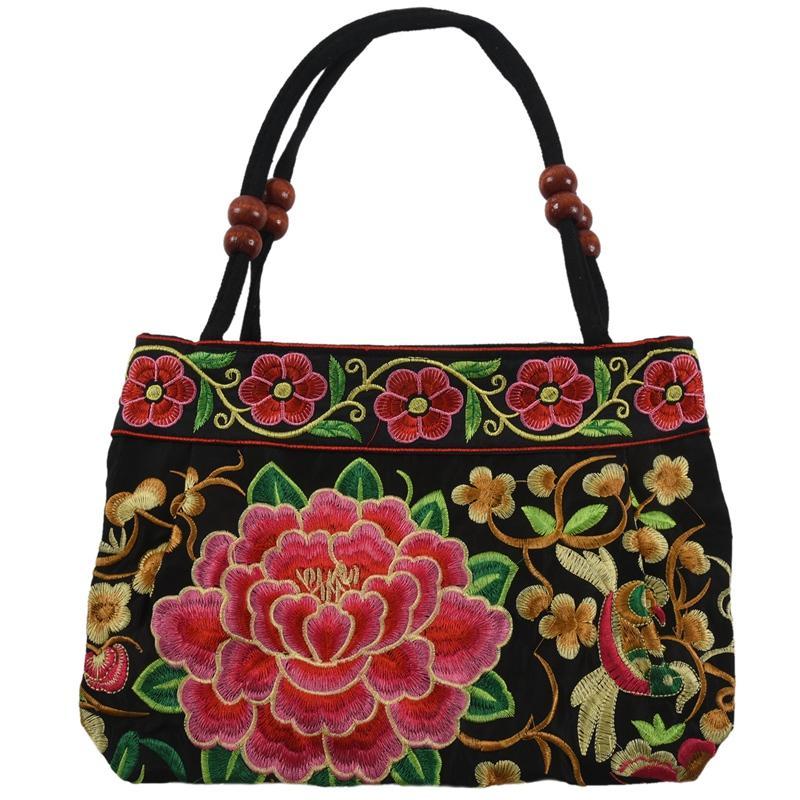 Китайский стиль сумки женщин вышивка Этнические Летняя мода цветы ручной работы Дамы плеча Tote сумки Креста тела (цветы)