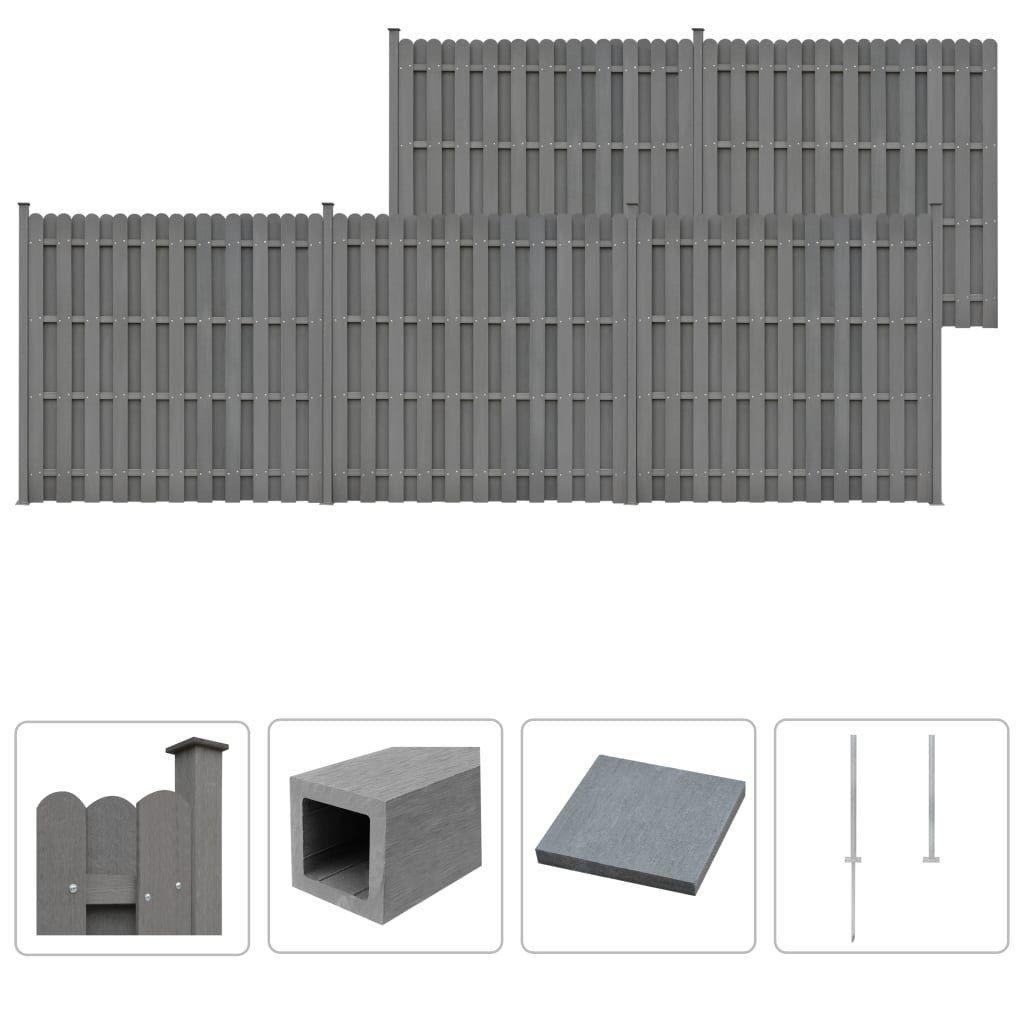 WPC clôture Set 5 x 932 place Elements 185 cm Gris