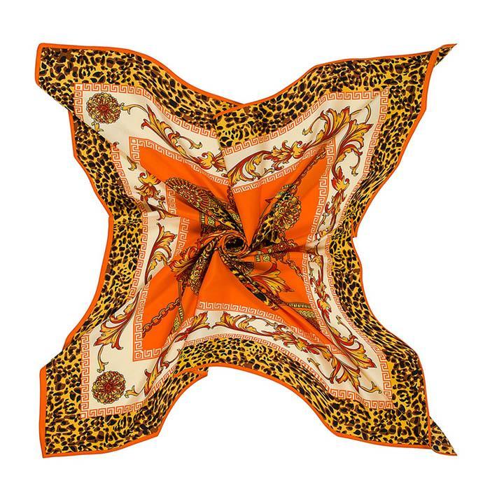 Leopardo de alta calidad de impresión bufandas de seda de imitación de la bufanda el 100 * 100cm Plaza Bufandas y Chales Wraps Hijab de Lady hairband de la venda Bolsa Decorati