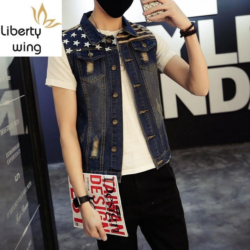 Vestes pour hommes Classic Vintage Mens Jeans sans manches Vestes Modèle Modèle Designs Style College Cheminée Cowboy Cowboy Denim Vest Tanks