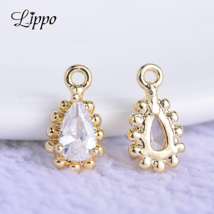 20 unids oro color gota de agua encantos colgante conector de la joyería para diy zircon accesorios pendiente de gota