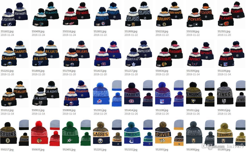 57 stili di NHL donne maschera Maple Leafs Inverno a maglia di lana Blackhawks Penguins Volantini Sharks Berretti Cappelli Casual Uomini HipHop Berretti cappelli caldi
