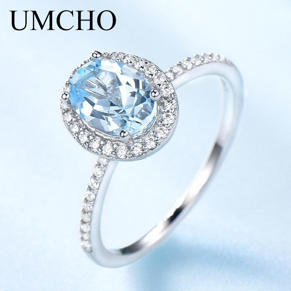 Umcho Sky topazio blu anelli della pietra preziosa per le donne argento sterlina 925 genuini anello ovale romantico regalo di lusso fidanzamento Gioielli J190709
