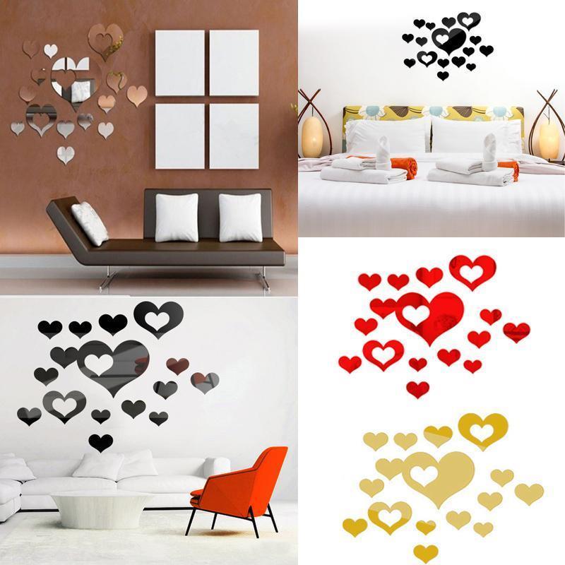 16PCS un set per neonati Forma Camere di cuore DIY 3D specchio di modo adesivi murali della decorazione della casa
