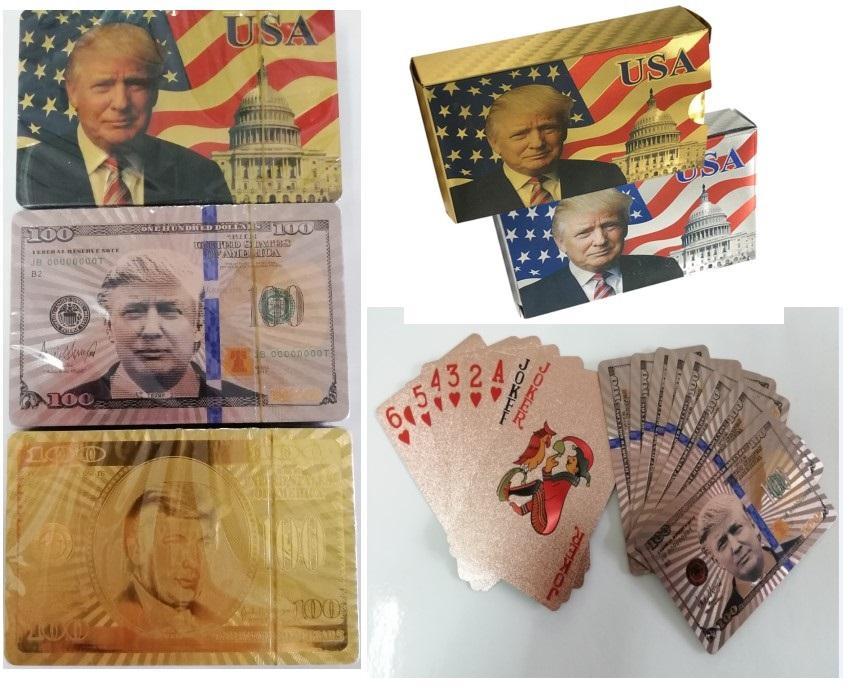 nouveau chaud Donald Trump 24K Cartes à jouer Jeu de poker plate-forme feuille d'or Poker Set Carte Magie plastique Cartes Magie étanche