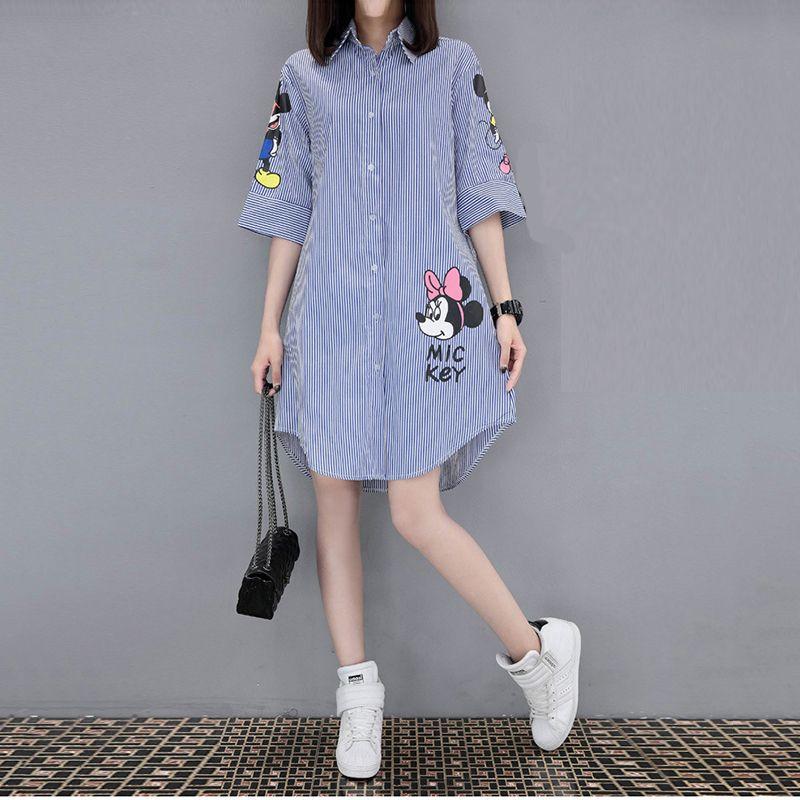 Mulheres 2019 Verão de Manga Curta Solta Vestido de Impressão Femme Moda Lazer Rodada Collar Minissaia Plus Size 5xl Mini Vestido Vestido MX19070401