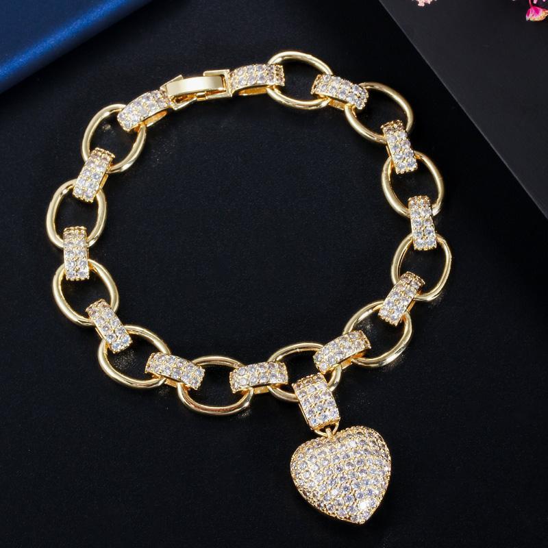Kadınlar Femme Moda Takı CB200 için Kalp Charm CZ Taşlı Sarı Altın Bohemian Link Zinciri Bilezikler