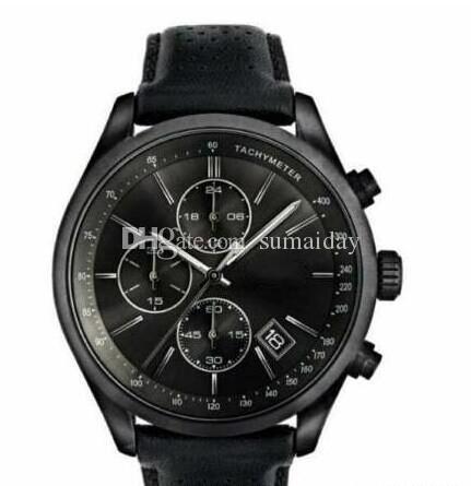 Reloj con correa de taquímetro cuarzo de la manera de los hombres del cronógrafo del reloj del cuero 1513474 + Caja