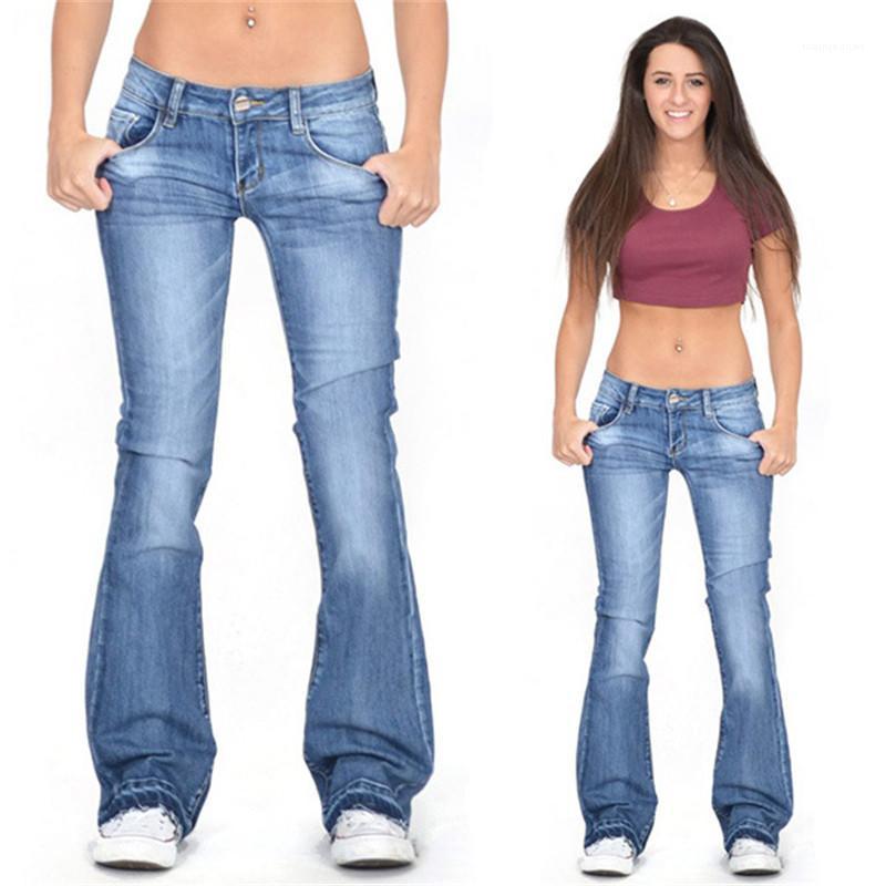 Pantaloni per adolescenti Ragazze casual Plus Size Jeans progettista delle donne dei jeans luce moda lavato Vintage Denim Flare
