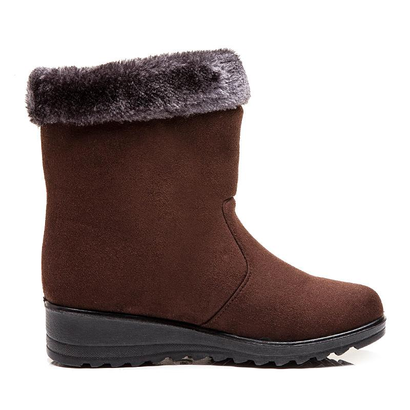 Zapatos Tacones mujeres botas gamuza sintética invierno Botas mujer acuña botas de nieve media pantorrilla de invierno de mujeres botines