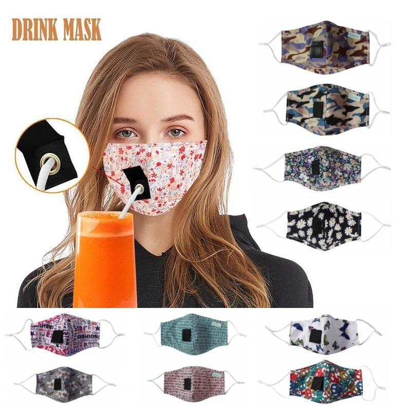 Många stilar ansiktsmask för vuxna Kids Party Drink Masks Bomull Mouth Straw Mask Reusable Tvättbar Dammskyddad Skyddsmask Designer