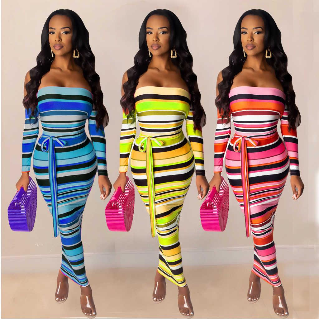 Women Fashion Off Shouder Striped Party Dress One Piece Dress Bodycon Skirt Party Evening Dress Sexy Fashion Printed Dresses