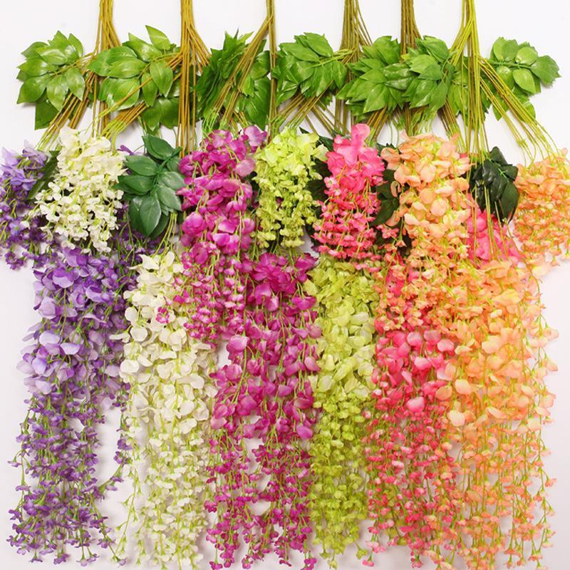 110 см искусственная Лоза Глициния цветы 6 цветов элегантный шелк декоративные цветы гирлянды для свадьбы центральные украшения домашнего декора