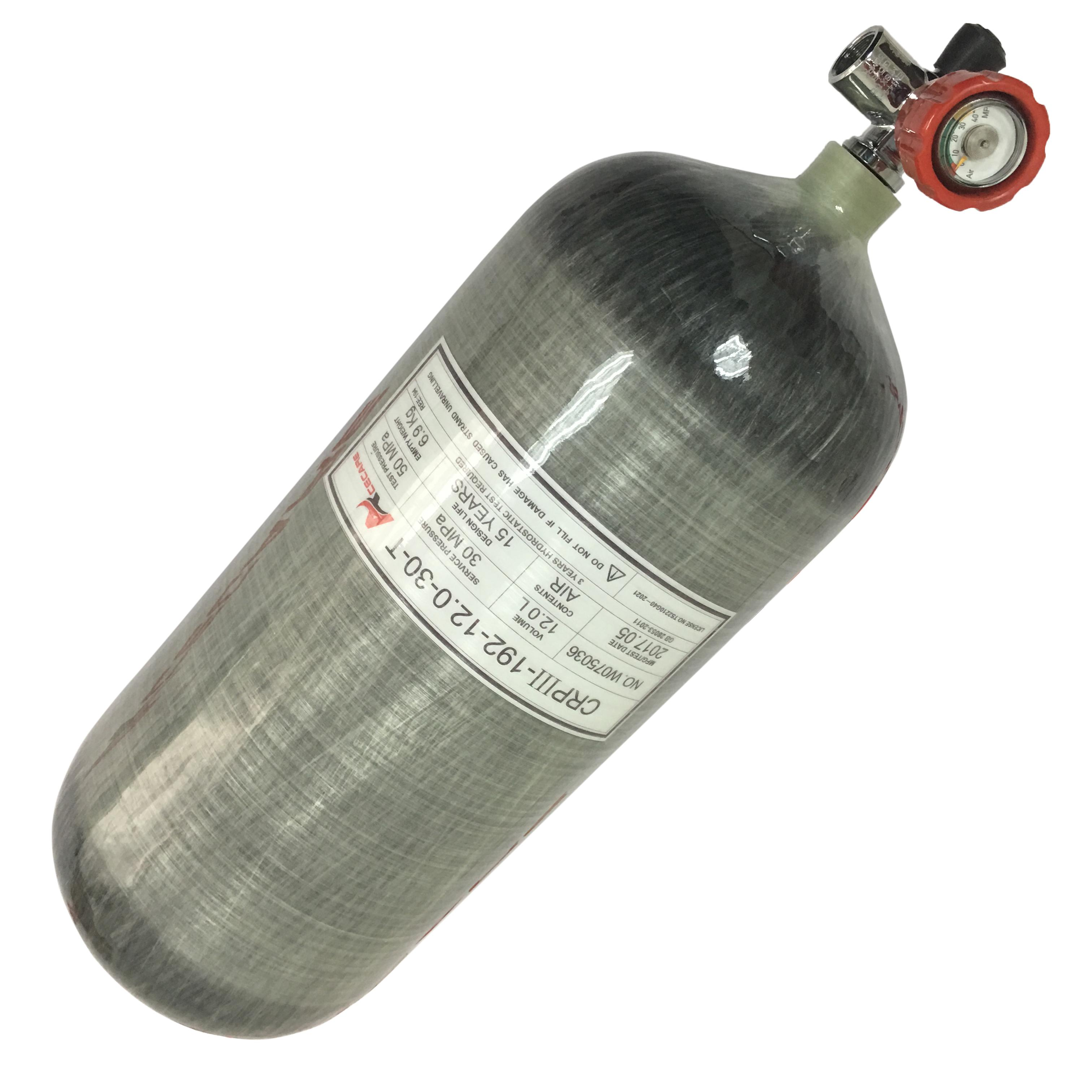 AC31211 Acecare 12L GB 4500PSI sous-marine réservoir en fibre de carbone bouteille de gaz PCP Paintball pour la plongée avec PCP Red Valve Équipement sous-marine