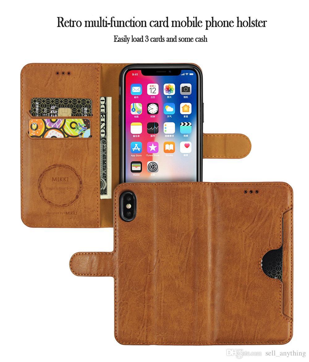 Para Iphone Xr Xs Max 6 7 8 X Plus cuero de la tarjeta Caso titular de la cartera de teléfono del teléfono celular alinea el caso de aceite en el lado
