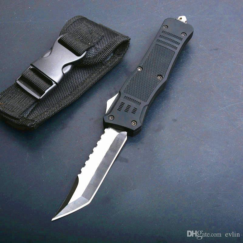 ¡En stock! DHL envío 616 de gran tamaño automático Tactial cuchillo 440C solo borde Hellblade acampan al aire libre de la supervivencia Cuchillos tácticos con la bolsa de nylon