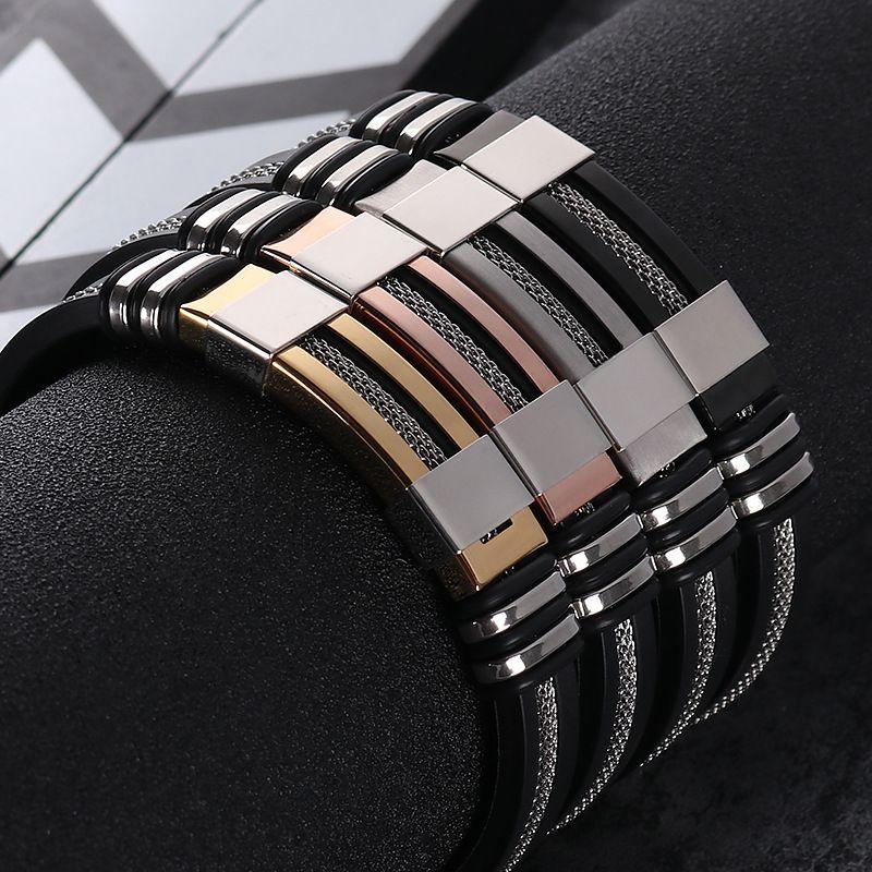 De los hombres de acero inoxidable de silicona negro pulsera de goma simple nuevo diseño encanto punk pulsera brazalete para hombre regalo de joyería de moda