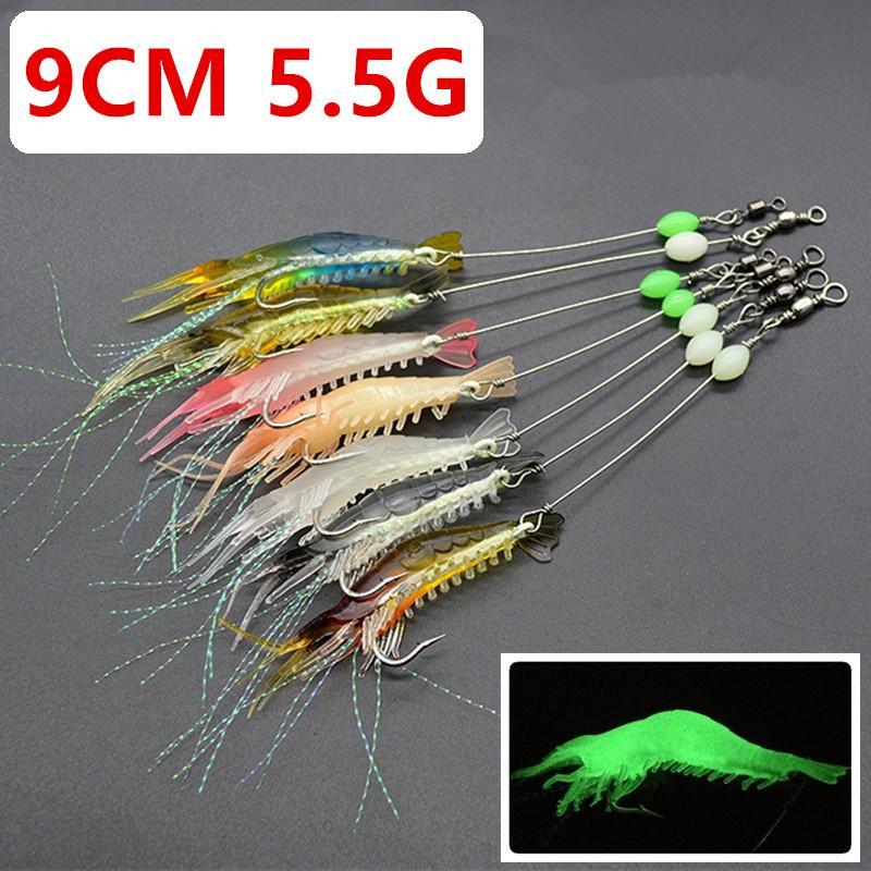 Mixed 7 Cor 9 centímetros 5,5g Luminous Camarão gancho de pesca Ganchos anzóis macias Iscas Lures Pesca Pesqueiro C-003