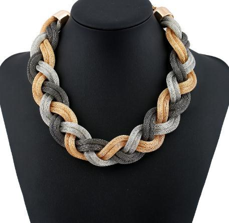 2020 Fashion Metal Choker Necklaces Trendy Multilayer Twist Torques String Geometric Clavicle Chain Punk Jewelry Statement