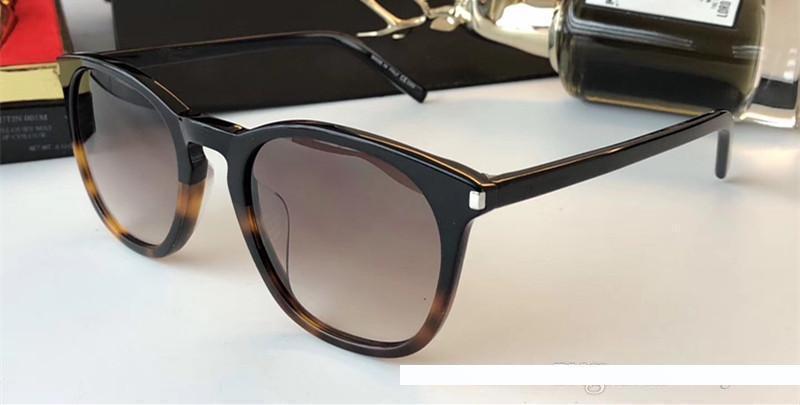 Luxo Homens Mulheres Marca Designer SL28 Sunglasses Praça protecção Designer UV Quadro Cat Eye Modelo Inteiro Preto Cor da Armação Vem com pacote