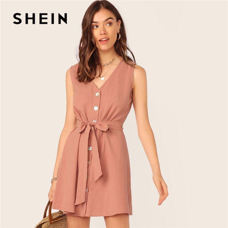 Shein monopetto con cintura casual Donna Rosa scollo a V Abito senza maniche estate dal cotone Etero serbatoio Solid Mini abiti