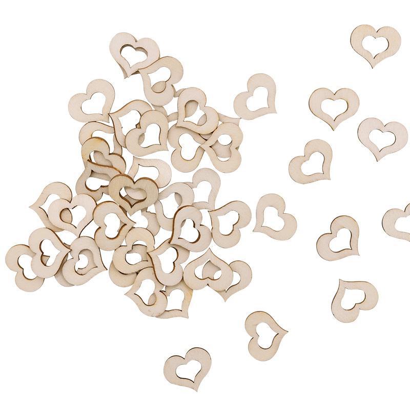 10-40mm Herzform Holz Confetti Natur Hohle Holzhackschnitzel für Hochzeit Tischdekoration Heim DIY Bastelbedarf-75
