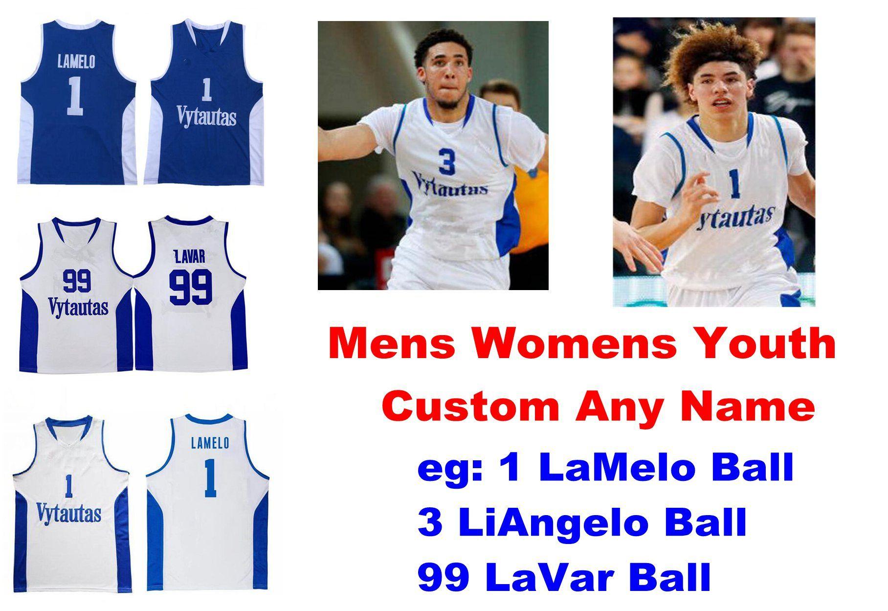 Lituania Prienu Vytautas JerseAys Mens 1 Lamelo Ball Jersey 3 Liangelo Ball 99 Lavar Ball Ballball Jerseys Personalizar cosido