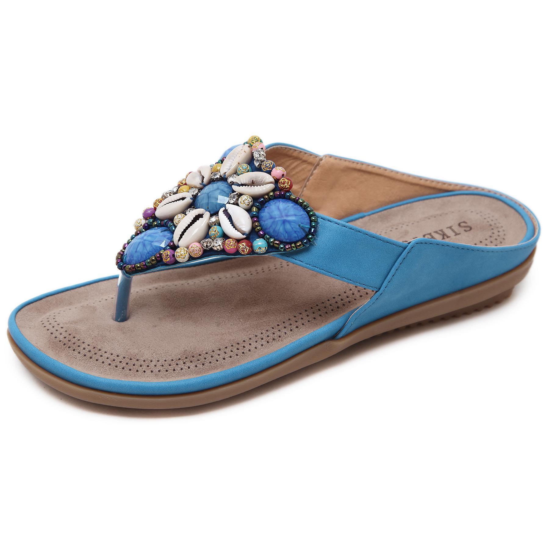 2020 отпуск пляж пляжные национальные сандалии, чешские бисерные сандалии большого размера, модные шлепанцы для отдыха
